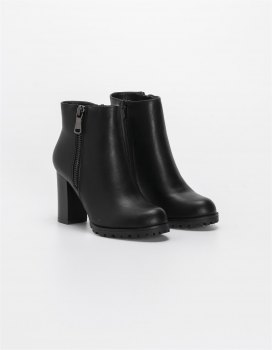 Ankle boots με χοντρό τακούνι και φερμουάρ Μαύρο