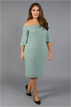 Boat Neck Formal Hourglass Green Midi Dress