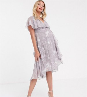 ASOS DESIGN Maternity midi dress with cape back and dipped hem in grey floral Multi