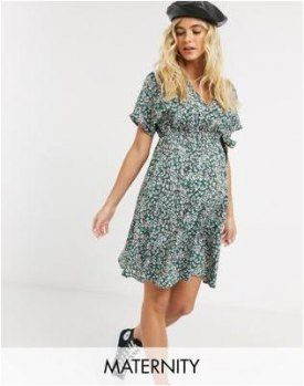 New Look Maternity mini wrap dress in multi ditsy floral
