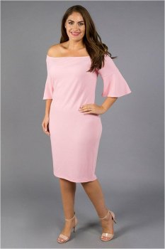 Boat Neck Formal Hourglass Babe Pink Midi Dress