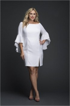 White short Dress with Flairy Trumpet sleeves