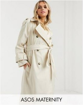 ASOS DESIGN Maternity longline trench coat in stone Cream