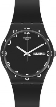 SWATCH Gents Over Black GB757, Black case with Black Rubber Strap