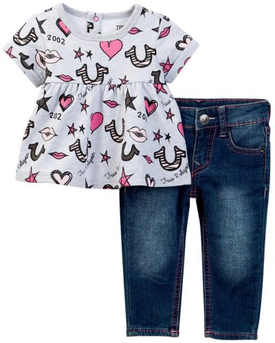 f58e4a54ba3 ΣΕΤ T SHIRT JEAN TRUE RELIGION LIPS AND STARS TR246ST32 ΓΚΡΙ ΜΕΛΑΝΖΕ ΜΠΛΕ  (86ΕΚ )