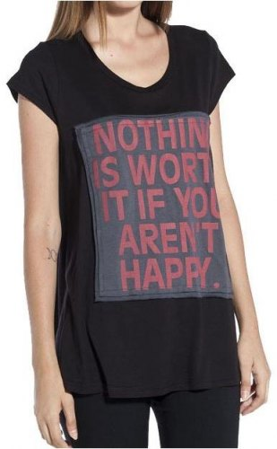 T SHIRT HELMI ΜΕ ΣΤΑΜΠΑ quot NOTHING IS WORTH quot ΜΑΥΡΟ