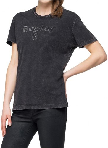 T SHIRT REPLAY W3940S 000 22658M ΜΑΥΡΟ