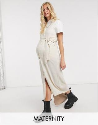 Mamalicious Maternity sleeveless knitted maxi cardigan in beige
