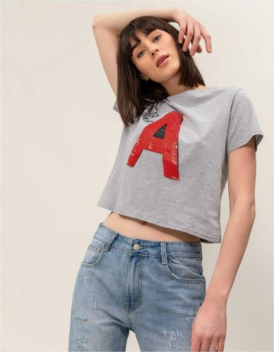 T shirt A letter Γκρι