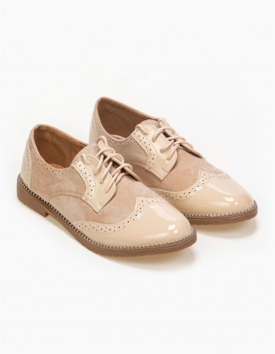 Oxfords σε συνδυασμό υλικών Μπεζ