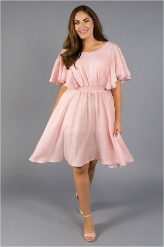 0068d2a1946e Ruffle Sleeves Princess Pink Chiffon Dress