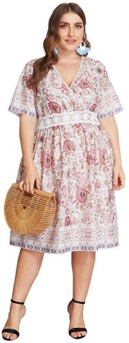 Traditional Floral Print Wrap Over Short Dress
