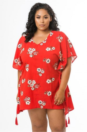 Flowered Scarlet Red Cover Up With Tassles