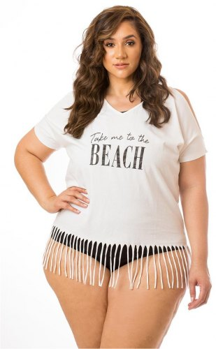 Take Me To The Beach Fringe Cover Up White