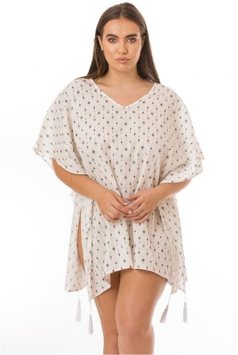 Comfy Patterned Cover Up With Tassles