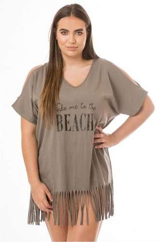 Take Me to the Beach Fringe Cover Up Taupe Grey