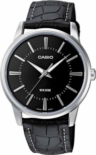 CASIO Collection MTP 1303PL 1AVEF, Silver case with Black Leather Strap