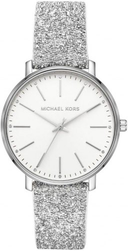 MICHAEL KORS Pyper Crystals MK2877, Silver case with Silver Leather Strap