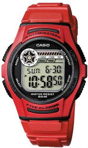 CASIO Collection W 213 4AVES, Red case with Red Rubber Strap