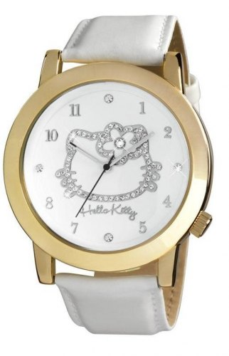 HELLO KITTY HK1458 161, Gold case with White Leather Strap