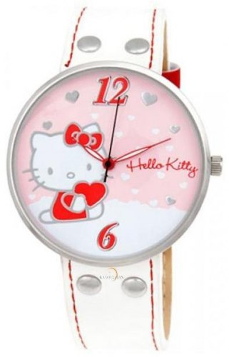 HELLO KITTY HK9004 561 Silver Case, with White Leather Strap