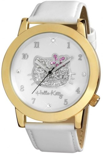 HELLO KITTY HK1558 161 Gold Case, with White Leather Strap