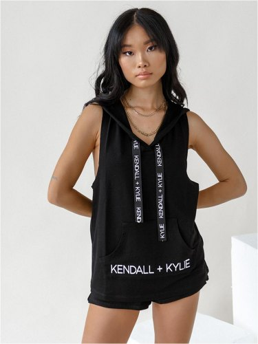 Kendall Kylie Μπλούζα Με Κουκούλα Μαύρη Pace Yourself