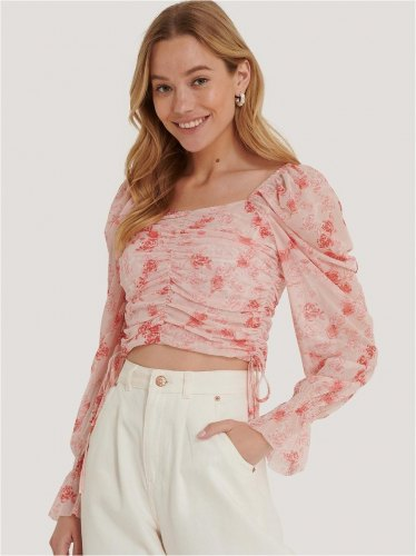 NA KD Crop Top Με Balloon Μανίκια Floral Ροζ Time After Time
