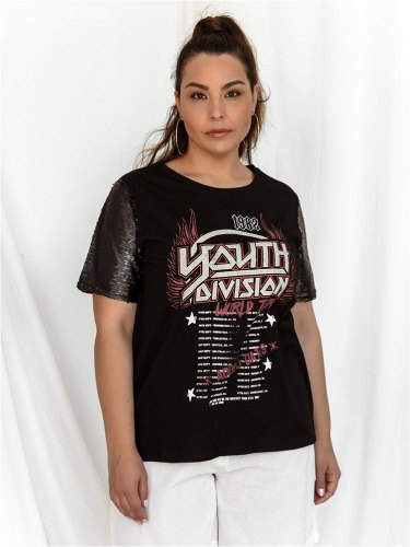 Brave Soul T Shirt Με Παγιέτα Μαύρη Who You Sequin For PLUS SIZE