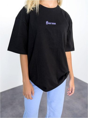 NA KD T shirt Oversized Με Στάμπα Μαύρο Change Things Up