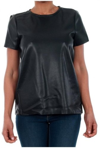 T shirt με κοντά μανίκια Vero Moda 10188470 VMRINA LACE BUTTER S S TOP LCS BLACK [COMPOSITION COMPLETE] Black