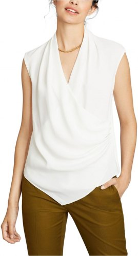 BROOKS BROTHERS DRAPED CREPE FAUX WRAP ΤΟΠ ΓΥΝΑΙΚΕΙΟ ΛΕΥΚΟ