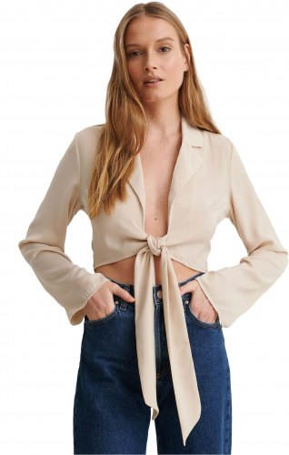 NA KD FRONT TIE BLOUSE RELAXED FIT ΓΥΝΑΙΚΕΙΟ ΜΠΕΖ