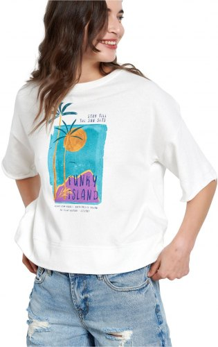 FUNKY BUDDHA T SHIRT ΜΕ ΤΥΠΩΜΑ LOOSE FIT