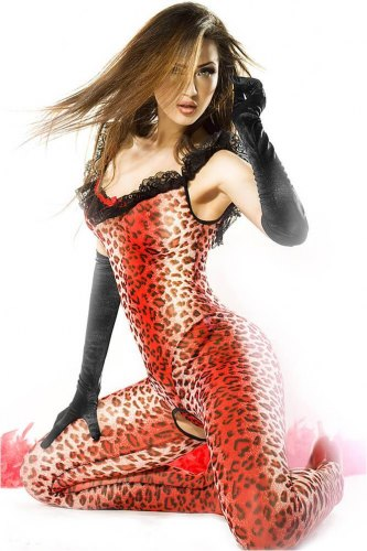 Ολόσωμο καλσόν Chilirose Catsuit Red Panther CR 3334
