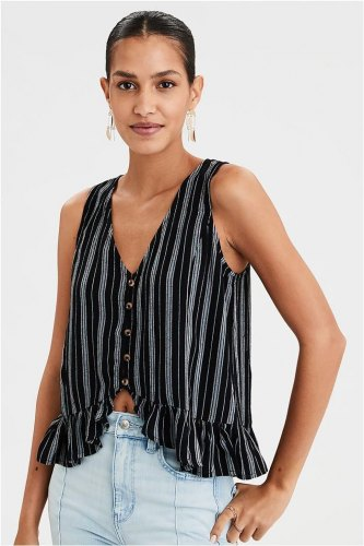 AE Button Front Tank Top 0358 1057 001 Μαύρο